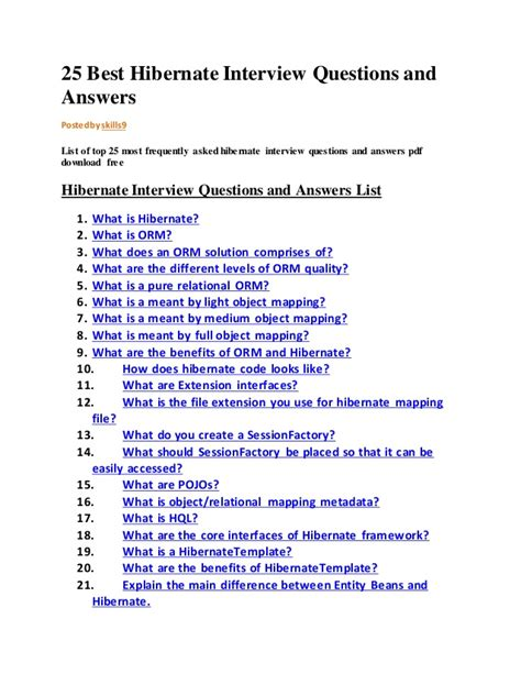 best questions and answers 25 best hibernate questions and answers