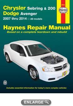 chrysler sebring dodge stratus avenger 95 06 haynes repair manual haynes manuals chrysler sebring 200 dodge avenger haynes repair manual 2007 2014 hay25041