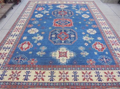 material rugs royal blue knotted rug 10x12 kazak carpet wool on cotton organic material ebay