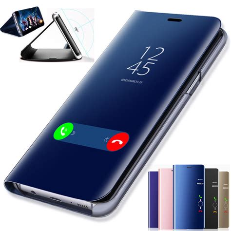 Samsung S8 Plus Smart Clear View Flip Mirror Cover Autolock 30 flip smart for samsung galaxy s7 s8 s9 plus clear view mirror stand cover ebay