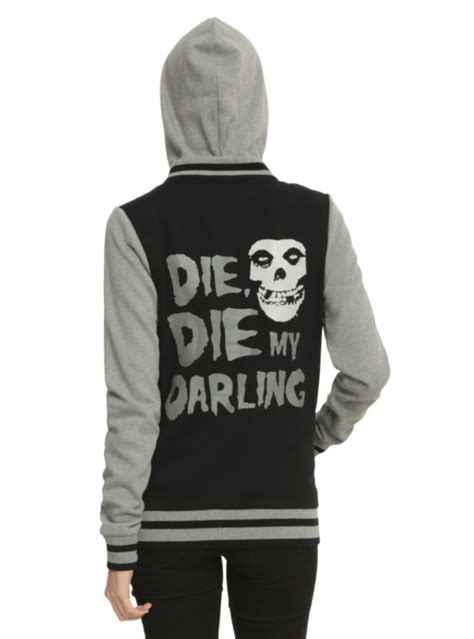 Zipper Hoodie Misfits black and grey varsity style hoodie with a misfits quot die die my quot design front button