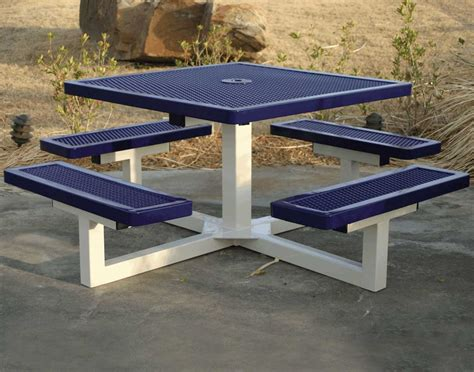 metal picnic benches 46 quot square pedestal portable regal metal picnic table