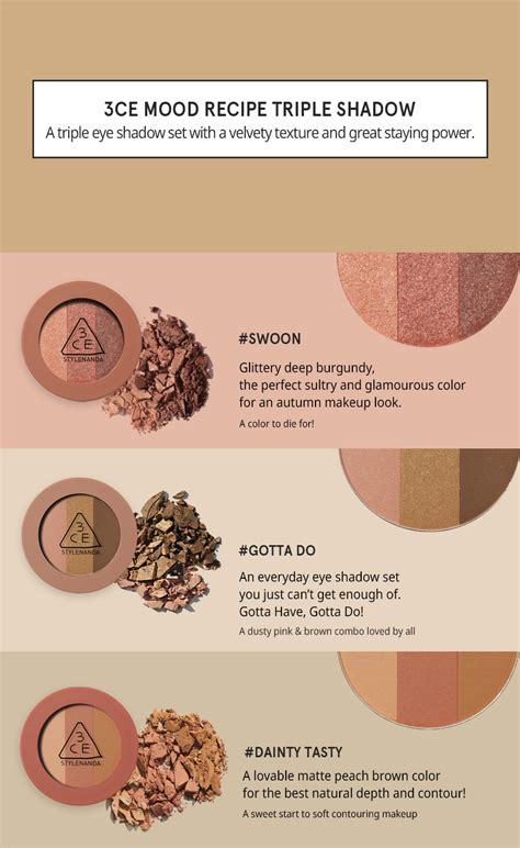 Eyeshadow 3ce 3ce mood recipe shadow dainty tasty with security