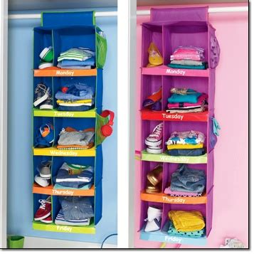 kid organizers and clothing on