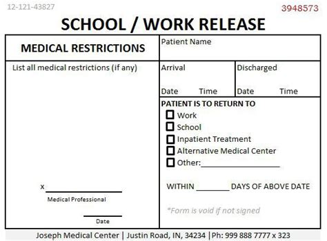 Release To Work Letter From Doctor 24 Professional Doctors Note For Work Demplates
