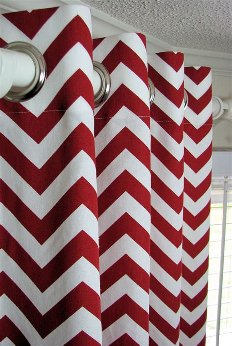 red and white chevron curtains items similar to pair of decorative designer custom