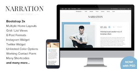 theme blog html5 narration a responsive wordpress blog theme by imithemes