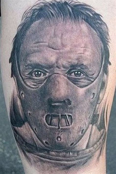 hannibal tattoo hannibal lecter in mask on thigh tattoos photos