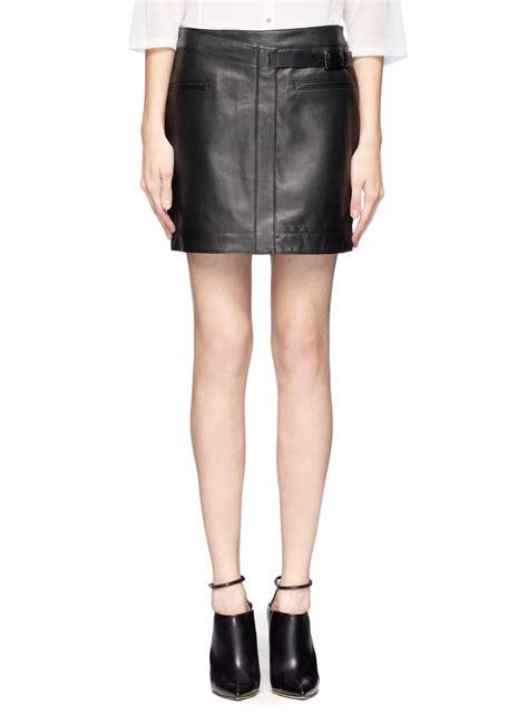 helmut lang side belt leather mini skirt in black lyst