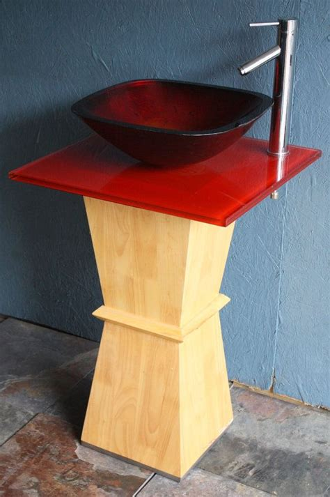 vessel vanity base 21in wide new modern contemporary red glass vessel