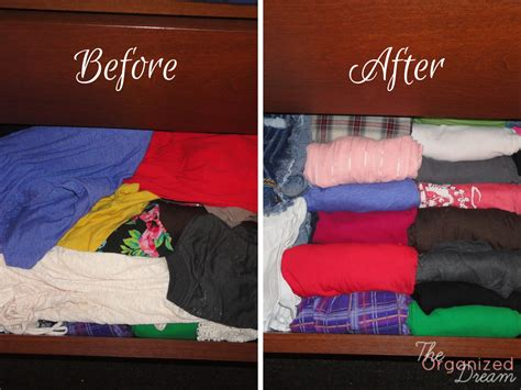 How To Fold Shirts For Drawers by Awesome Dresser Organization The Organized