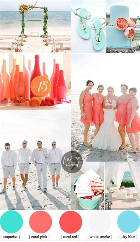 inspirational wedding ideas shades of coral turquoise