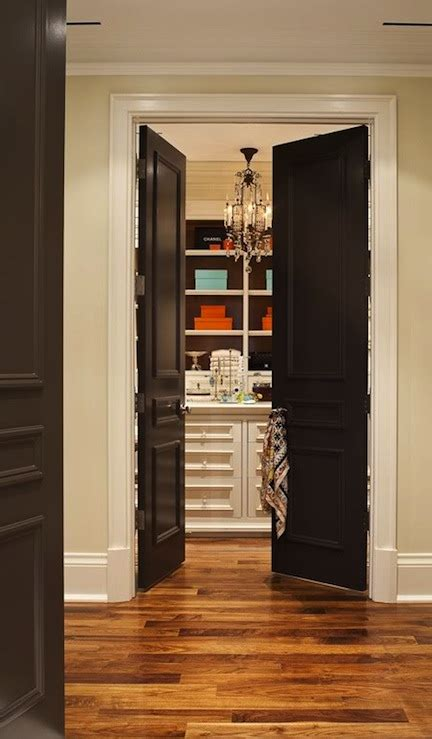 black french doors transitional closet house home