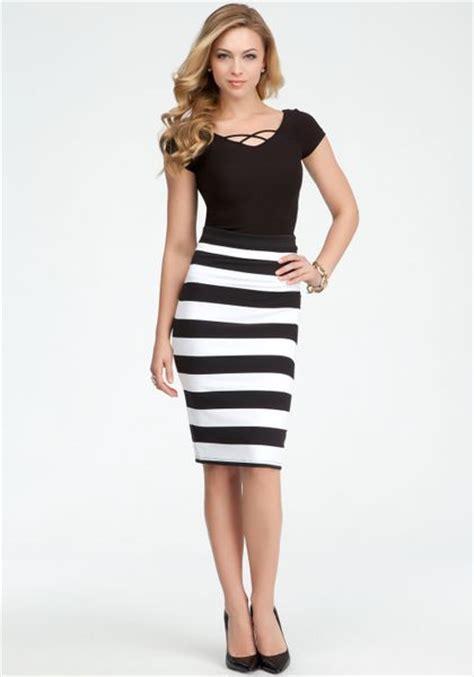 Big Stripe Skirt bebe wide stripe midi skirt in black black white lyst