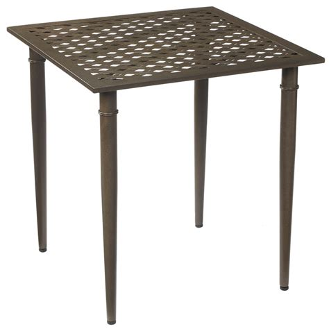 Metal Patio Table Hton Bay Oak Cliff Metal Outdoor Bistro Table 176 411 28bt The Home Depot