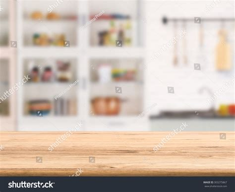 Kitchen Counter Background Wooden Counter Top Kitchen Cabinet Background Stock Photo