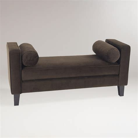 bench with pillows chocolate velvet taylor bench with bolsters world market