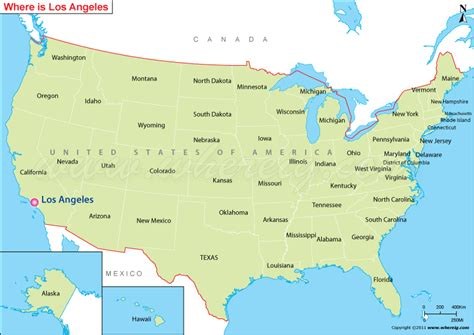 map of the united states los angeles where is los angeles located