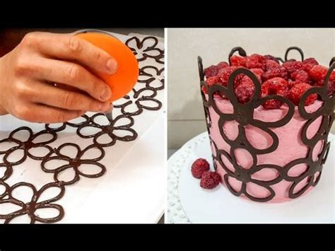 How To Make Decorative Chocolate by Chocolate Lace Flower Wrap Cake Chocolate Hacks By Cakes