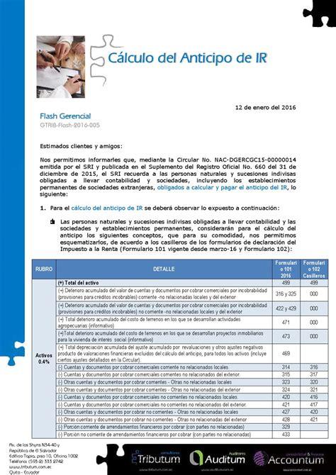 calculo impuesto sociedades 2015 circular sri c 225 lculo del anticipo del impuesto a la renta