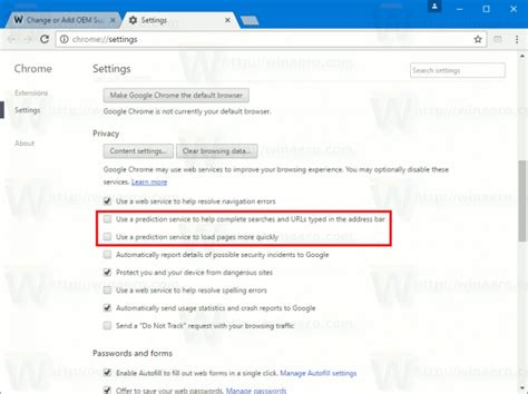 How To Stop Chrome From Searching In Address Bar How To Disable Page Prediction In Chrome Winaero