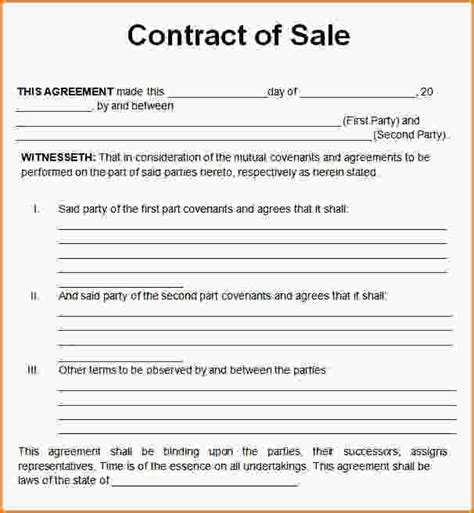 Service Letter Agreement Sle Sales Contract Sle Sales Contract Template Word Jpg