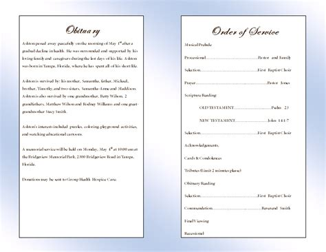 memorial program templates clouds youth memorial program funeral phlets