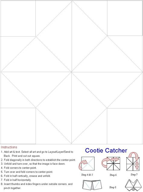 catcher template blank paper fortune teller cootie catcher template