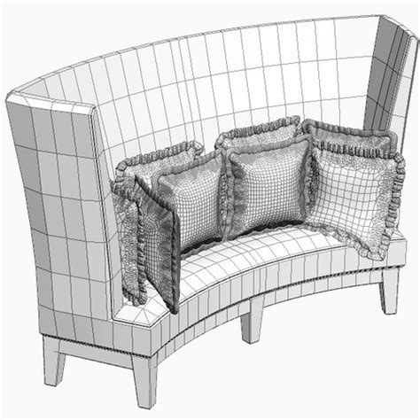 high back settee keoki 3d high back settee with arms curved high back sofa 3d model max obj 3ds fbx