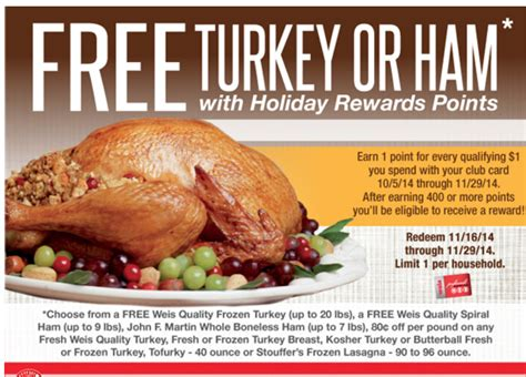 weis printable grocery coupons weis free turkey earn a free turkey ham more options
