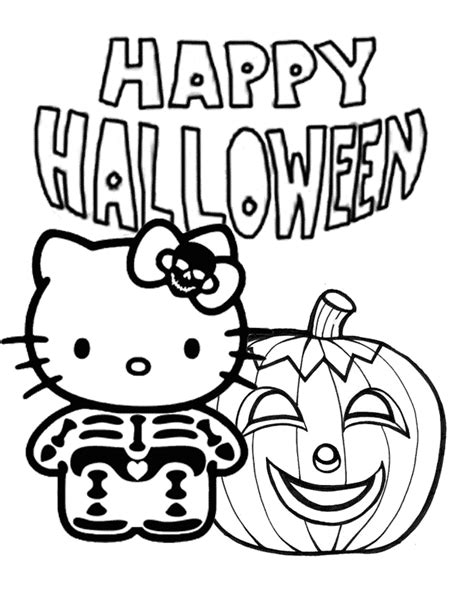 hello kitty witch coloring pages hello kitty skeleton and pumpkin halloween coloring page
