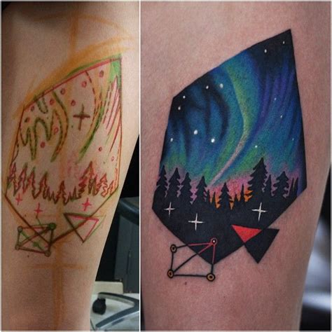 northern lights tattoo northern lights forest sky