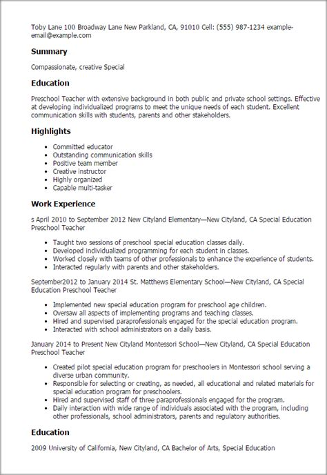 Sle Resume For Early Childhood Special Education Teachers professional special education preschool templates to showcase your talent myperfectresume