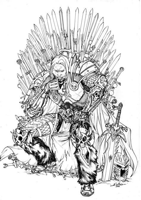 thrones coloring book colored pages arthas iron throne by spiderguile on deviantart
