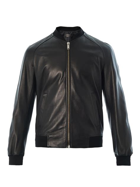 Mcqueenleather Jacket mcqueen leather bomber jacket in black for