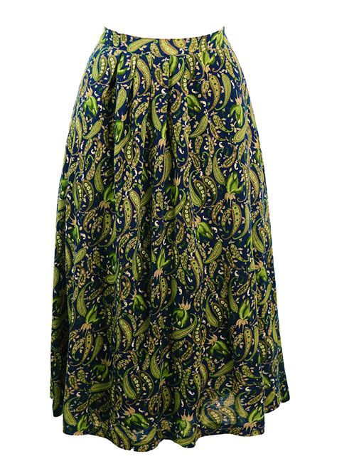 blue patterned midi skirt blue green taupe paisley patterned midi length flared