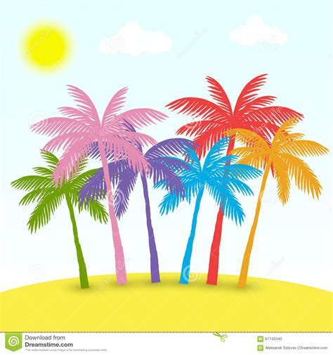 colorful palm trees colored palms stock vector image 67745340