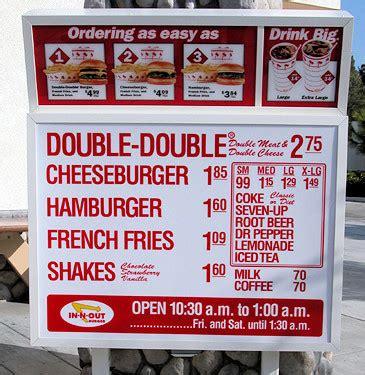 inn n out burger menu keeping the menu simple