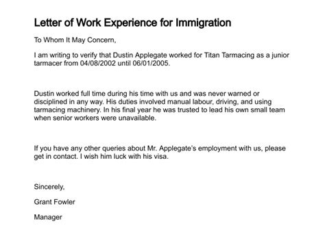 Work Experience Letter Sle For Australian Immigration Letter Of Work Experience