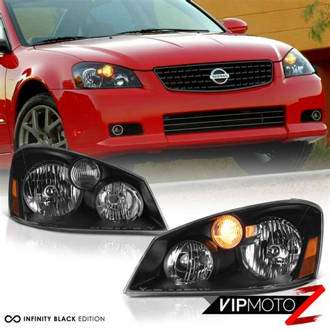 headlights for nissan altima for 2005 2006 nissan altima base s se sl sedan black front