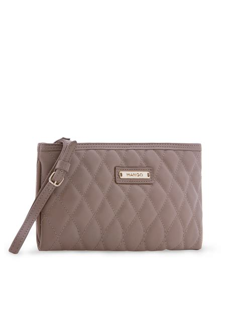 Quilted Makeup Bags by Mango Quilted Cosmetic Bag In Brown Mq Lyst