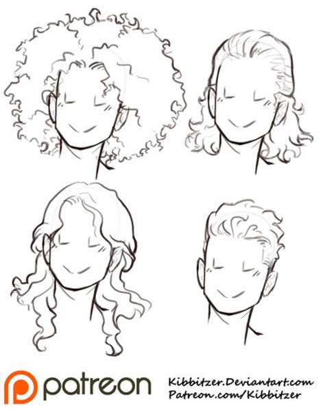 short hairstyles drawings curly hair reference sheet 2 by kibbitzer on deviantart