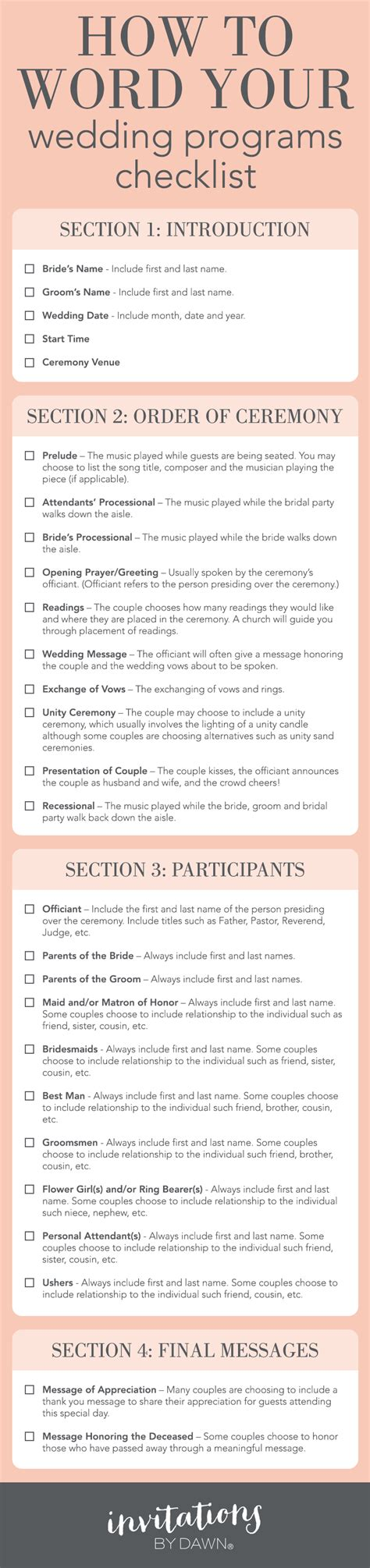 Wedding Planner Program how to word your wedding programs invitations by