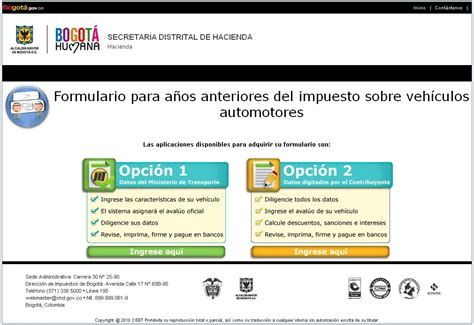 secretaria de hacienda bogota ica liquidcion impuestos vehiculos bogota por placa impuestos de