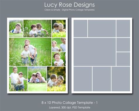 8 X 10 Photo Collage Template 1 8x10 Photoshop Template