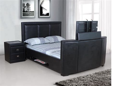 kingsize tv bed frame tv bed frame leather king black brown homegenies