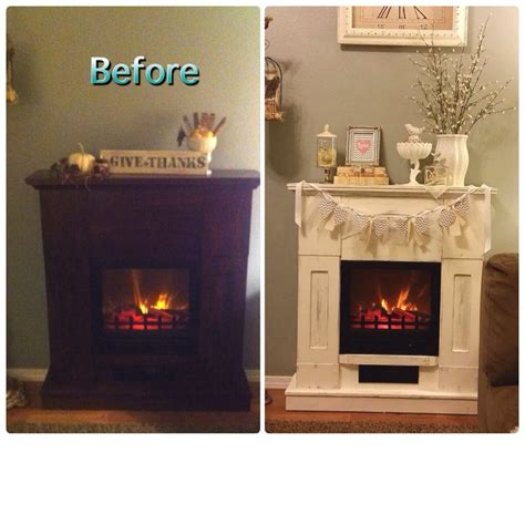 painted electric fireplace before and after of electric fireplace painted furniture