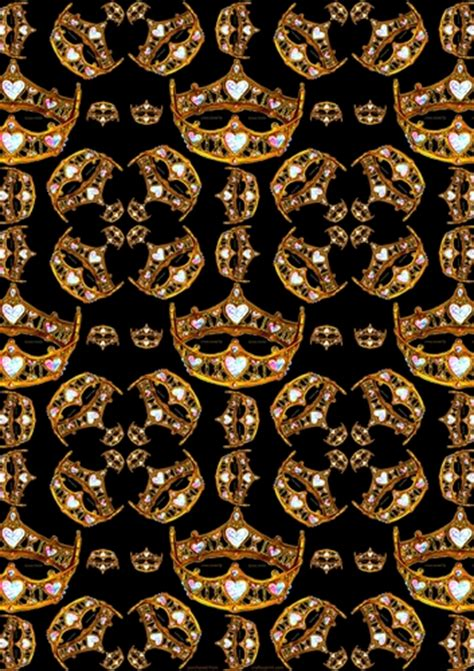 gold bling wallpaper queen of hearts gold crown tiara repeat pattern black