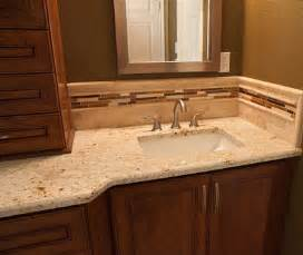 Colonial gold bathroom vanity top with a rectangular undermount sink