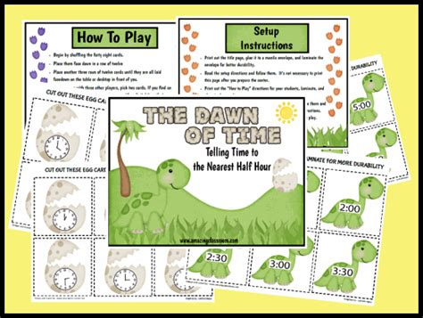 printable games for telling time telling time game to the half hour printable worksheet